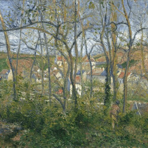 Beyond screen of trees, with man at right seen from rear, beside small shed, view of scattered buildings, many with orange or blue roofs, of village against high horizon of hills.