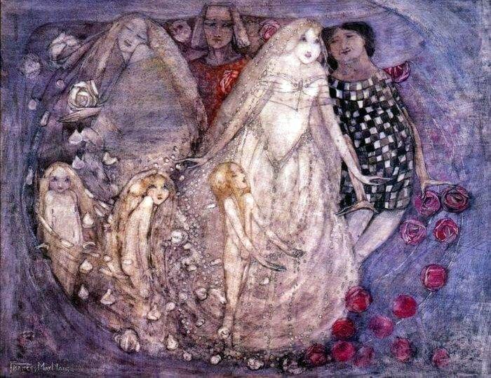 Art Nouveau female artists: art nouveau painting by Frances Macdonald showing a bride and her family Frances Macdonald, A Paradox