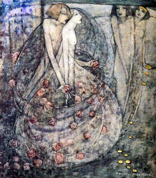 Art Nouveau female artists: art nouveau painting by Frances Macdonald showing a couple Frances Macdonald, The Choice,
