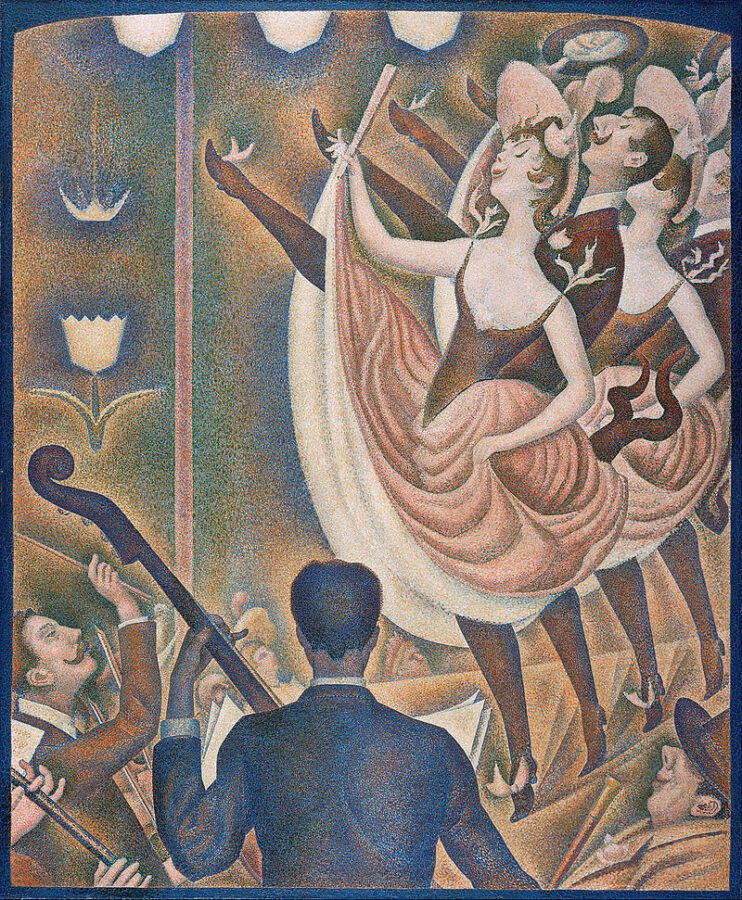 George Pierre Seurat's take on the can-can dancers at the Moulin Rouge in Paris. Georges Pierre Seurat, La Chahut can can paintings