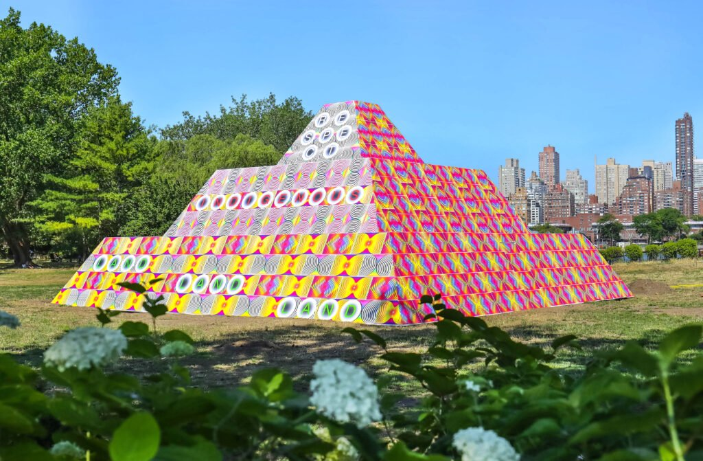 Jeffrey Gibson, Because Once You Enter My House It Becomes Our House, 2020, Socrates Sculpture Park, Long Island City, New York, USA