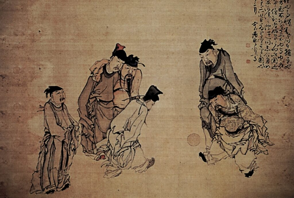 Modern Sports Played in Ancient China, the painting of two Chinese men playing football, other four men standing nearby and watching the game
