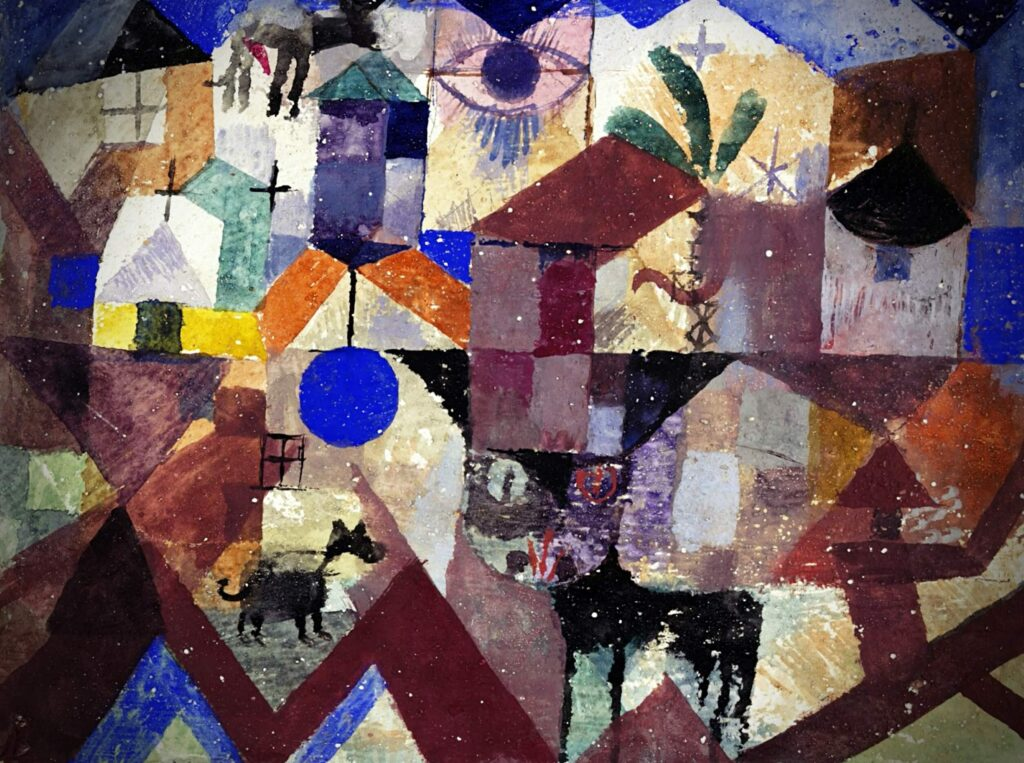 Spot a cat! Cats hidden in famous paintings: Paul Klee, Zoological Garden the colorful painting of the cat in the foreground, with houses, church, eye  in geometrical shapes
