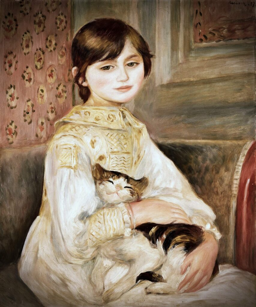 Spot a cat! Cats hidden in famous paintings: Pierre-Auguste Renoir, Portrait of Julie Manet (or Girl with a Cat), painting of the girl looking directly at the viewer with her cat in her arms