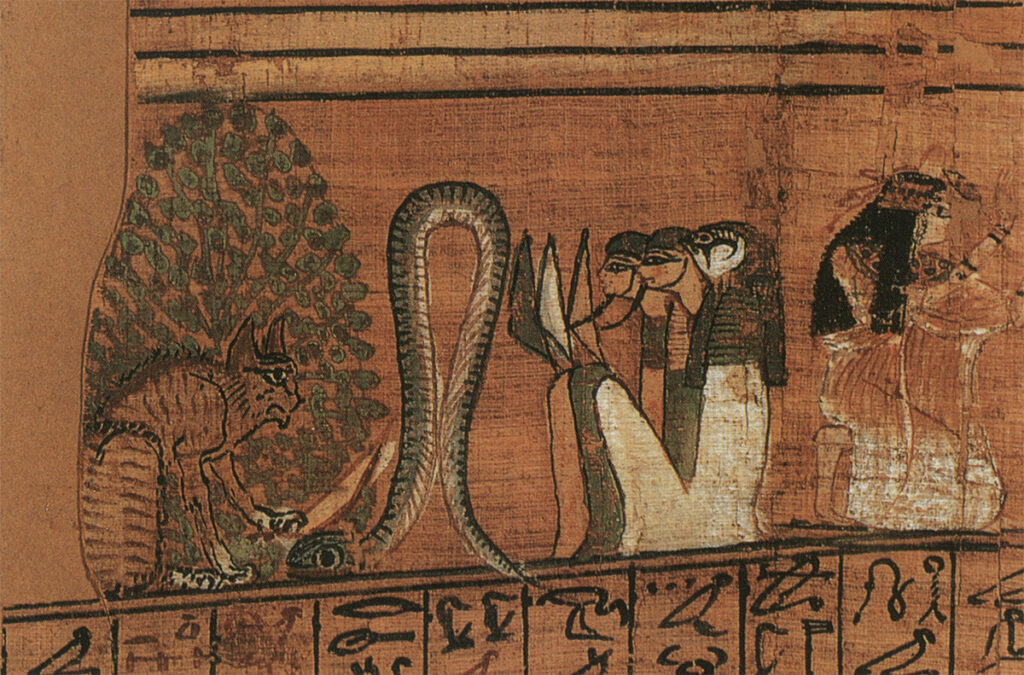 The Sacred Cats of Ancient Egypt: A cat slaying the Apophis serpent