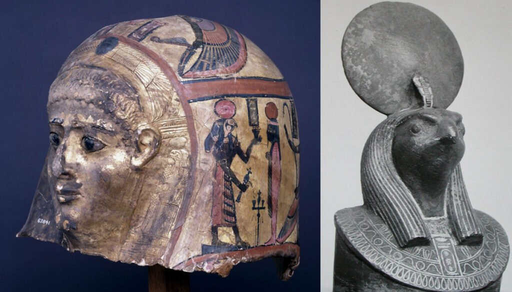 Gilded mummy-mask depicting the sun god Ra and the aegis of Ra bronze prow terminal of a ritual barque in the form of the aegis of Ra