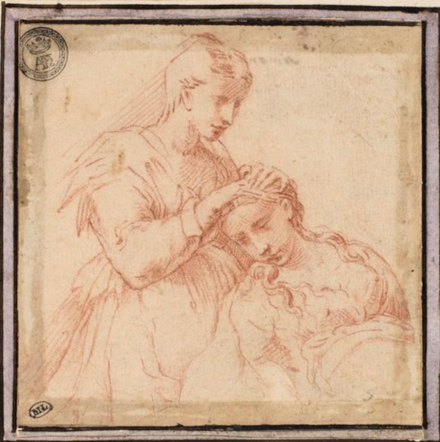 Two girls drawing Parmigianino, A Woman Plaiting Another Woman