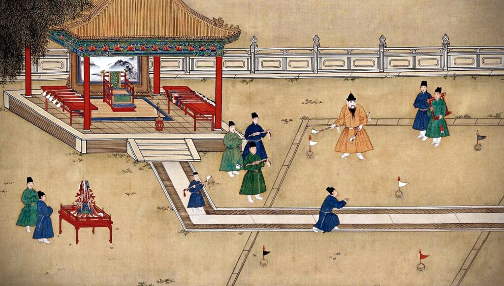Modern Sports Played in Ancient China: Shang Xi, painting of Xuande Emperor playing golf surrounded by his court officials