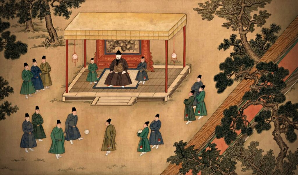 Modern Sports Played in Ancient China, painting of the Xuande Emperor watching his officials playing the game of cuju, football
