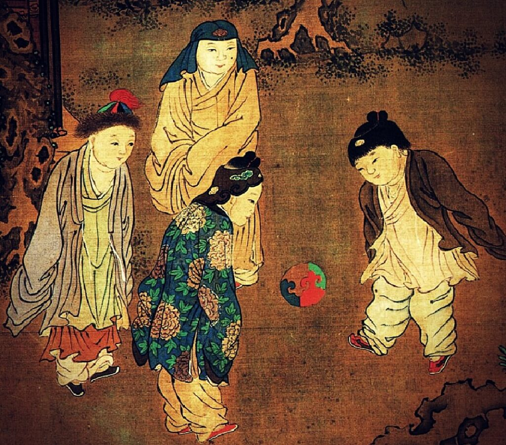 Modern Sports Played in Ancient China, Su Hanchen, painting of four children engrossed in playing cuju