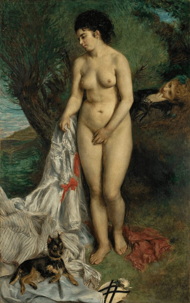 Pierre-Auguste Renoir, The bather and the griffon dog - Lise on the banks of the Seine
