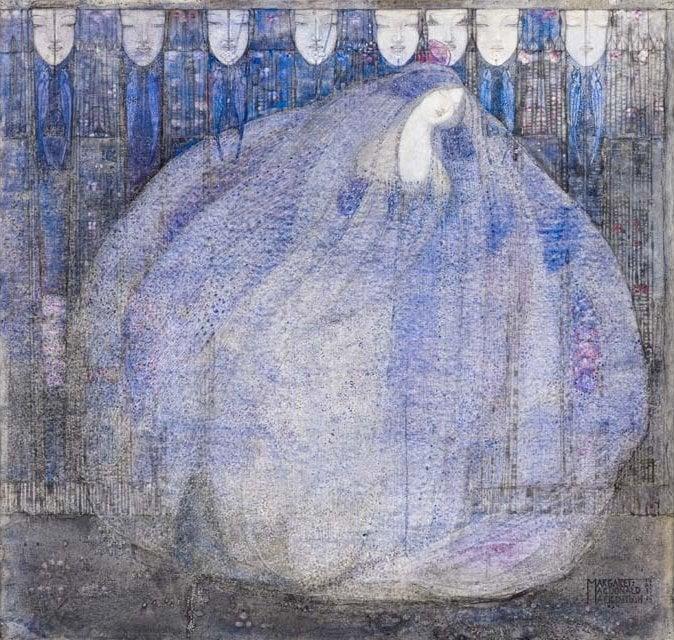 Art Nouveau female artists: Art Nouveau painting of Margaret Macdonald showing a woman in blue
