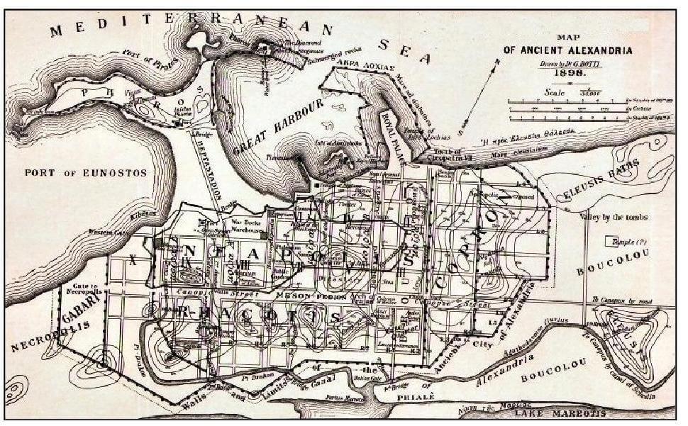 Giuseppe Botti, Map of the ancient Alexandria