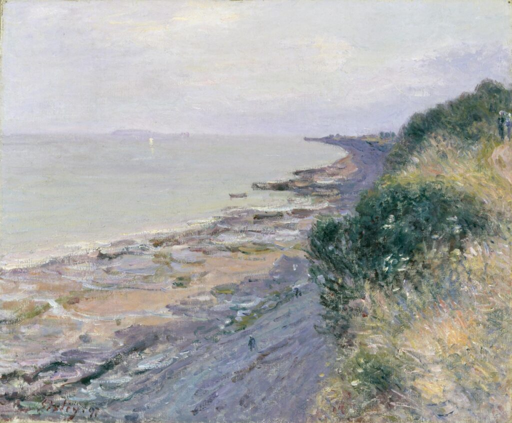 Davies Sisters collection: Alfred Sisley, The cliff at Penarth, Evening, Low-tide,