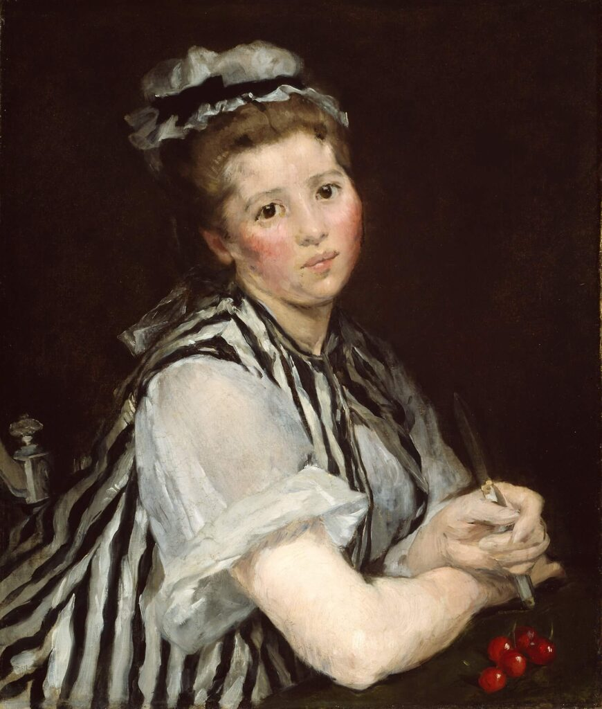 Gonzales, Girl with cherries, black and white shirt