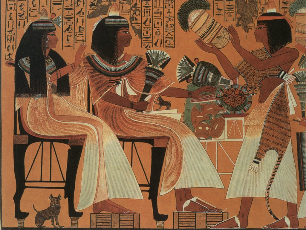 The Sacred Cats of Ancient Egypt: Wall painting, Deir el-Medina tomb of Ipuy