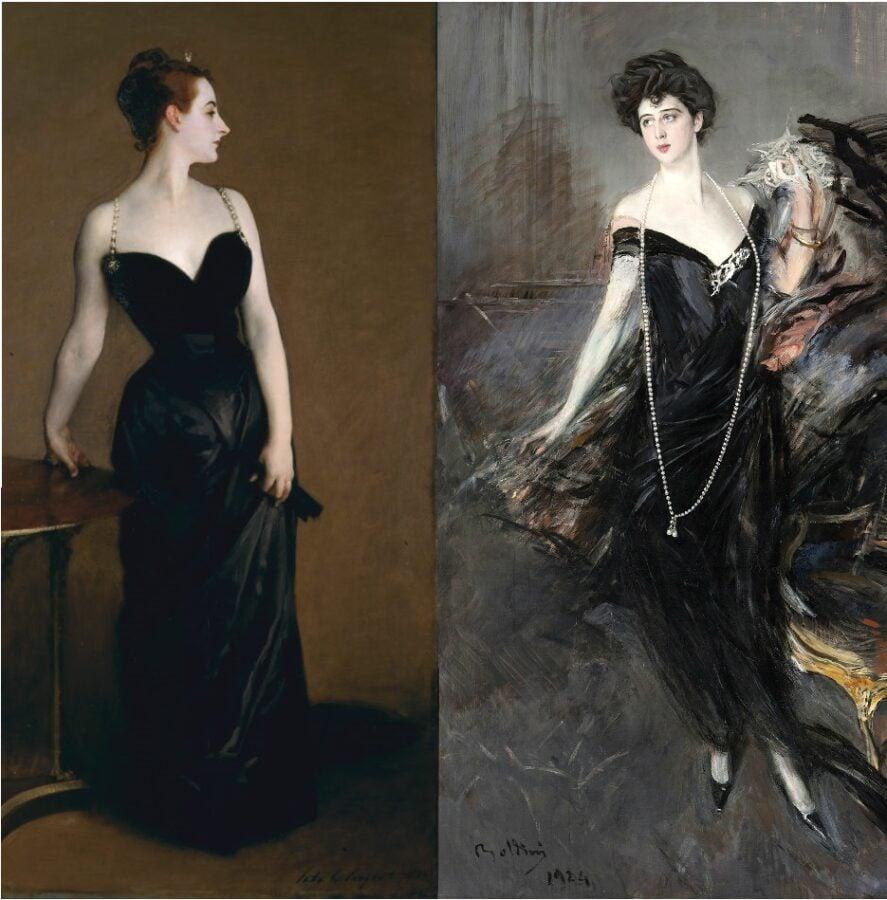 John Singer Sargent, Madame X  and Giovanni Boldini, Portrait of Donna Franca Florio