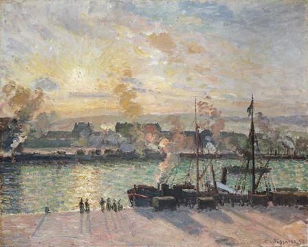 Davies Sisters collection: Camille Pissarro, Sunset, The Port of Rouen