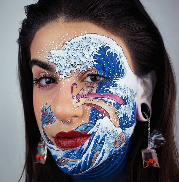 Makeup inspired by art. Not an ordinary interpretation of the painting. The Great Wave meets Pokemon. elepeints.