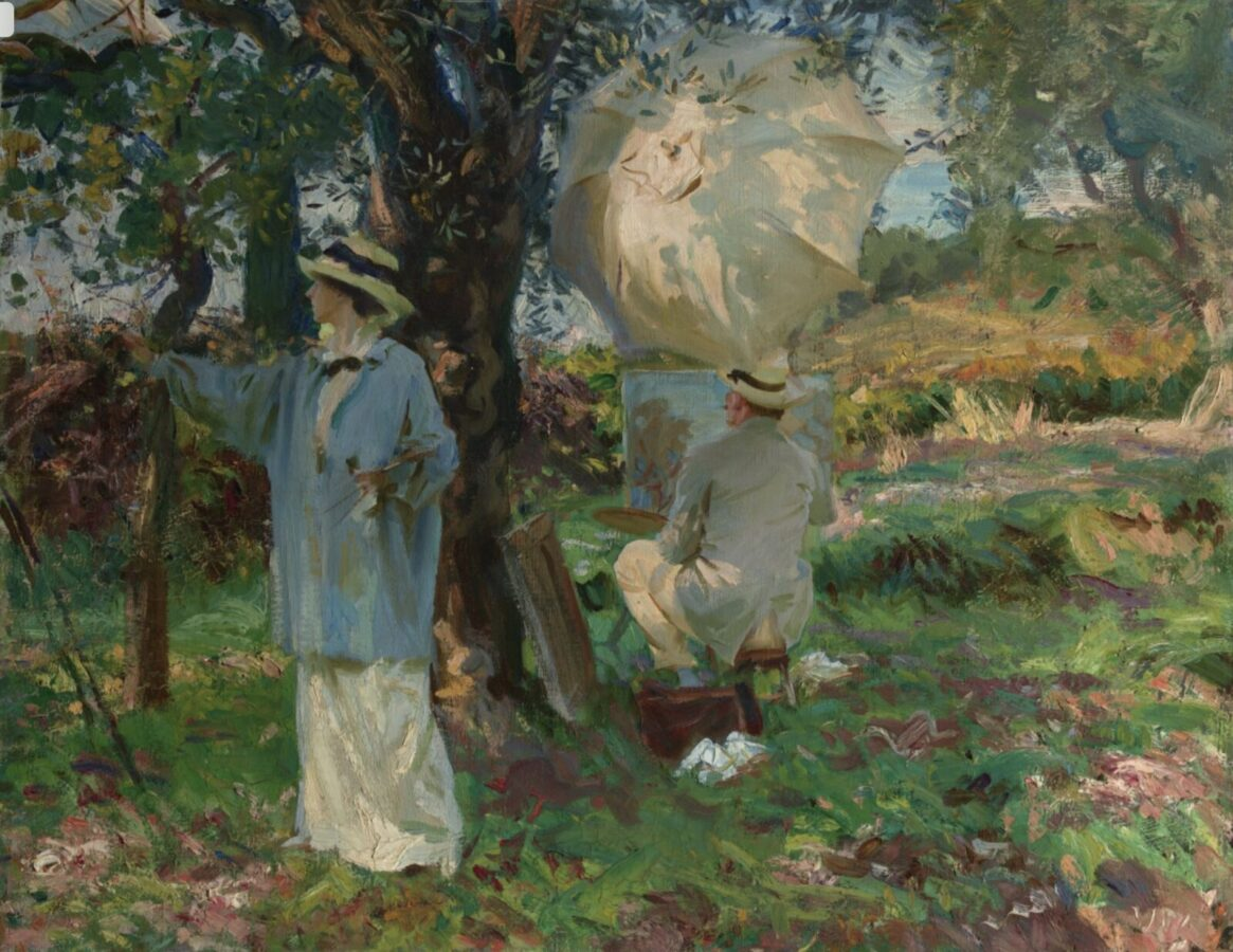 A couple sketching a view of nature, by John Singer Sargent