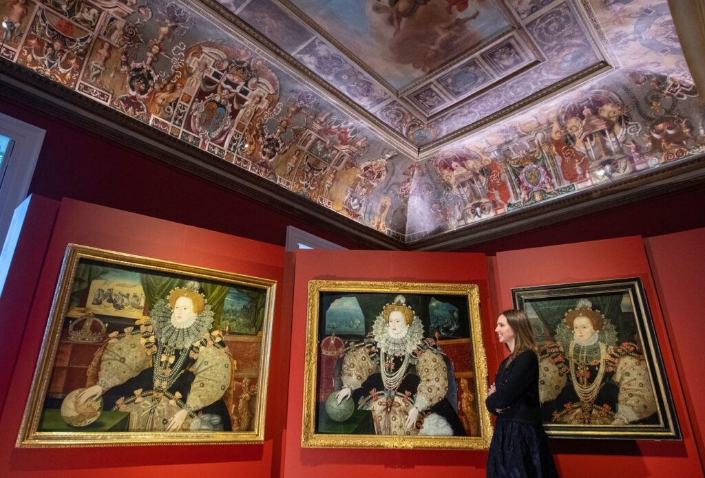 Image of the gallery at the Royal Museum Greenwhich showing all three Armada Portraits hanging together.