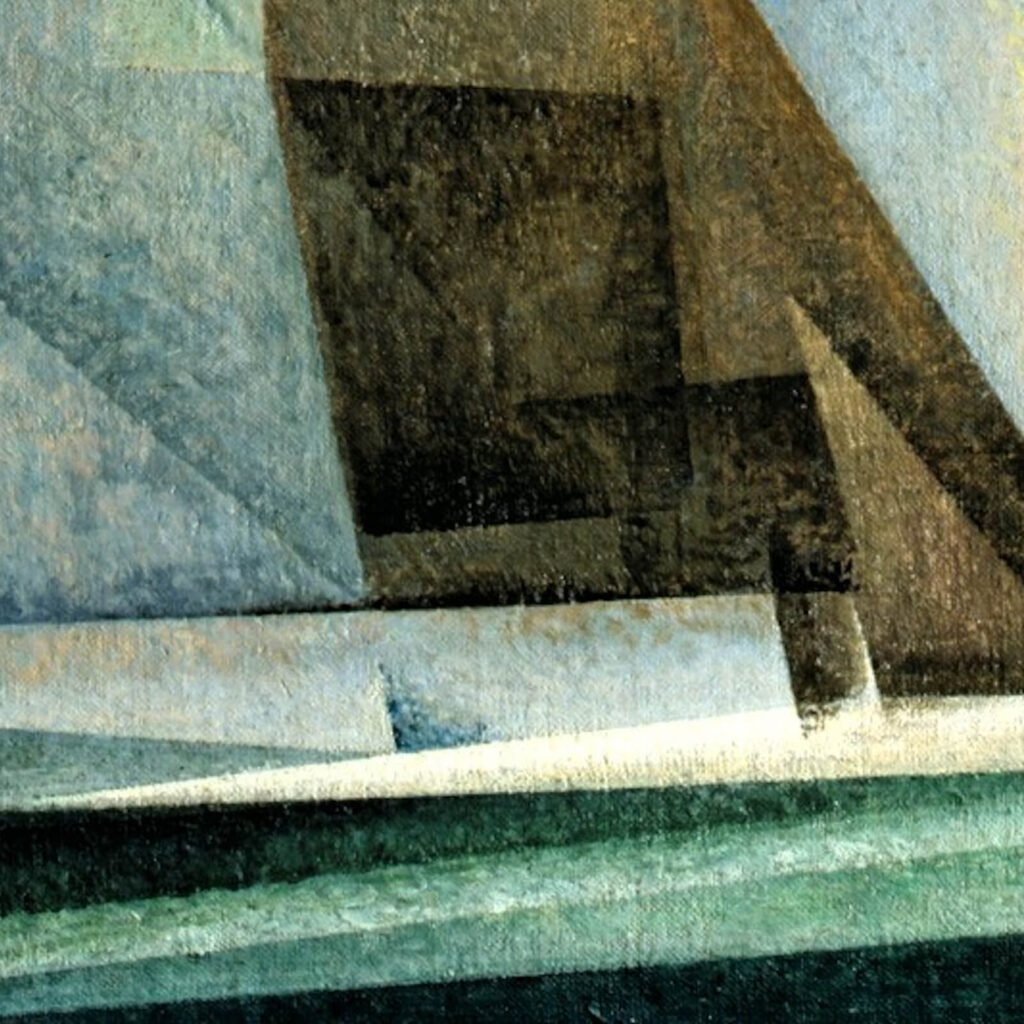 Lyonel Feininger, Sailboats, 1929, Detroit Institute of Arts, USA. Enlarged Detail of Waves.