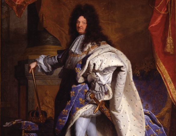 Detail of Louis's royal portrait, allowing a closer look at his face and luxurious robes. Hyacinthe Rigaud, Louis XIV