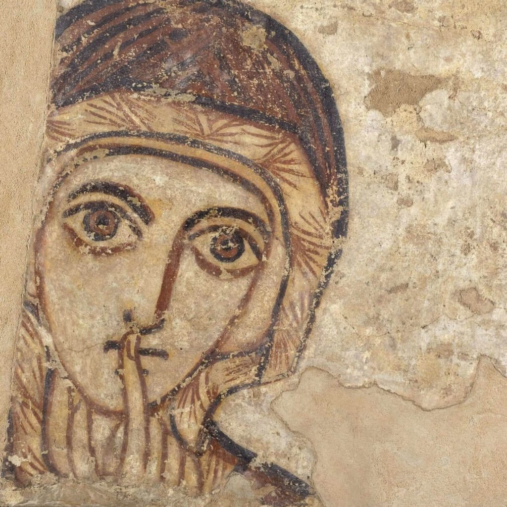 Saint Anne, 9th century, National Museum in Warsaw, Poland. Enlarged Detail of Saint Anne's Face.