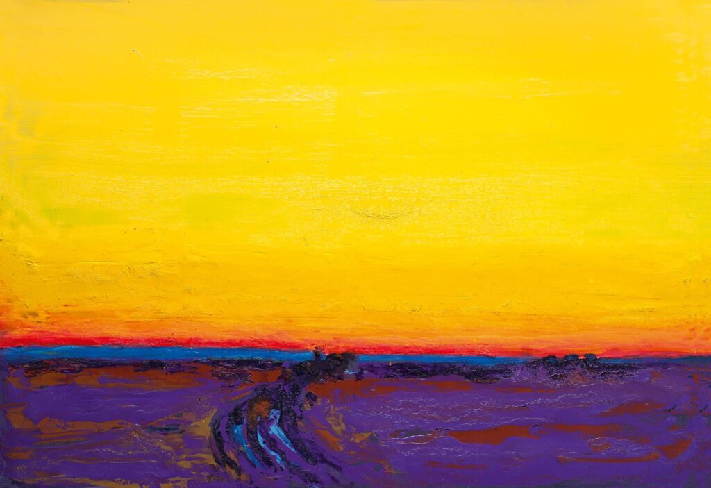 The untitled painting by Anatoliy Kryvolap, created in 2012, depicts the purple field and bright yellow sky; Anatoliy Kryvolap
