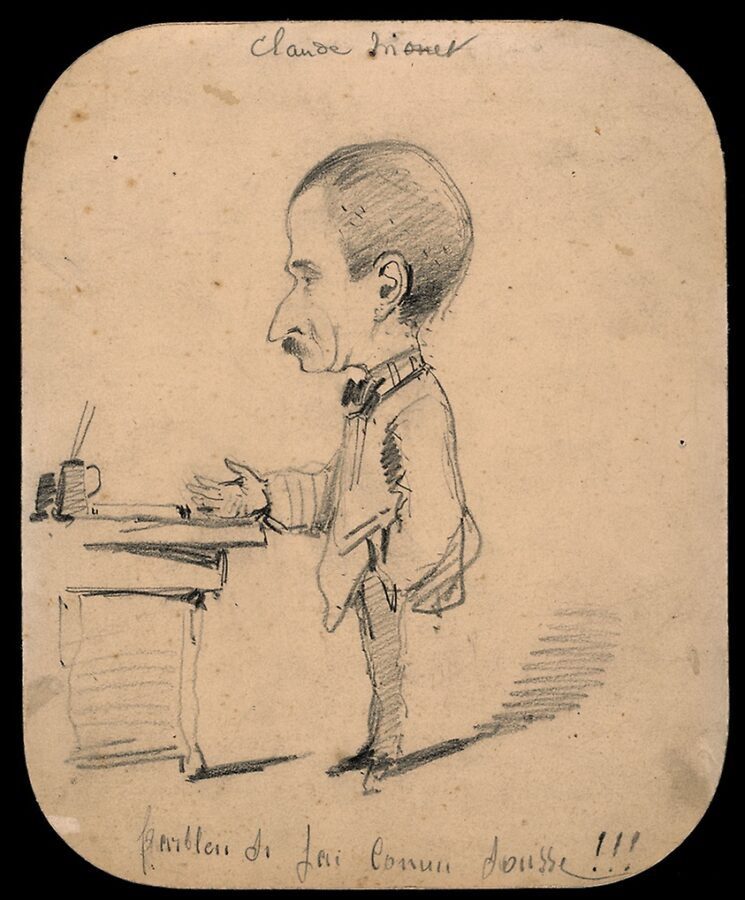 Claude Monet, Caricature of a Man Standing by His Desk (recto),  1855/56, graphite on paper, Art Institute Chicago.