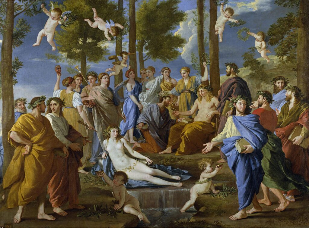 Nicolas Poussin, Apollo and the Muses on Mount Parnassus; 'Muse' in the Arts