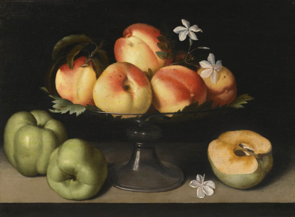 Fede Galizia, A Crystal Fruit Stand with Peaches, Quinces, and Jasmine Flowers