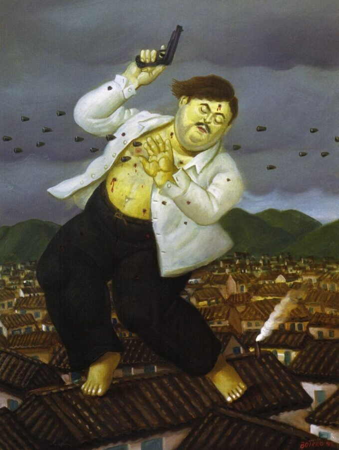 The chubby art: Fernando Botero, Pablo Escobar´s death. Shows the drug trafficker Pablo Escobar looking heavy and tall like a barefoot giant standing on a house roof, with a gun in his right hand and trying to protect himself with his left hand while being shot .