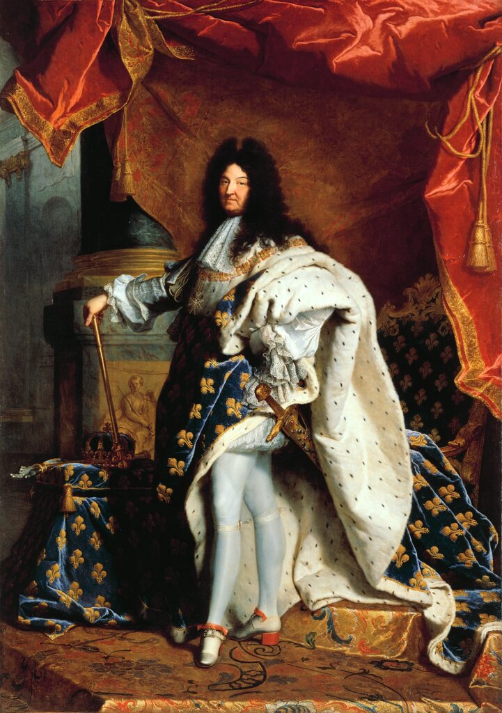 Royal Portrait of Louis XIV surrounded by luxurious fabrics. Hyacinthe Rigaud, Louis XIV