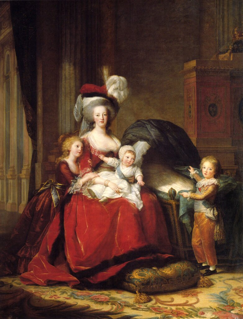 Portrait of Marie Antoinette with her children in a less extravagant room. Elisabeth Louise Vigée Le Brun, Marie Antoinette and Her Children