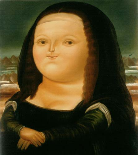 The chubby art: Fernando Botero, Mona Lisa age twelve. Shows a replica of the famous painting The Mona Lisa, modified with infantile and chubby features, conserved posture and tonality of colors.