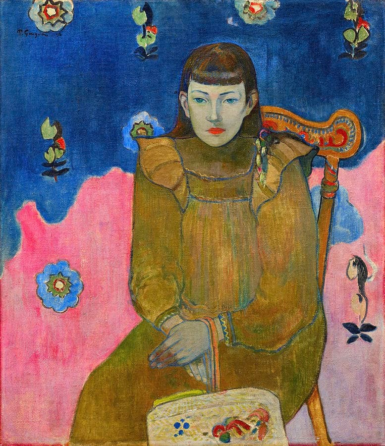 It is a painting Portrait of a Young Woman by Paul Gauguin (1896). He portrayed Vaite (Jeanne) Goupil seated on the chair. The painting looks very bright.
