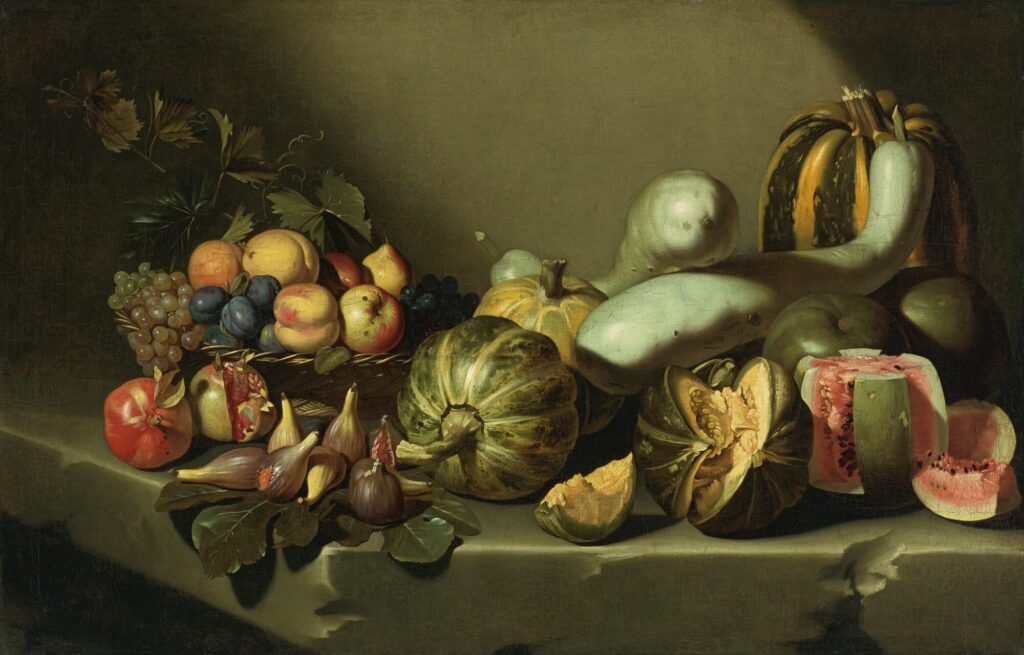 Autumn foods: Still LIfe with Fruit on a Stone Ledge