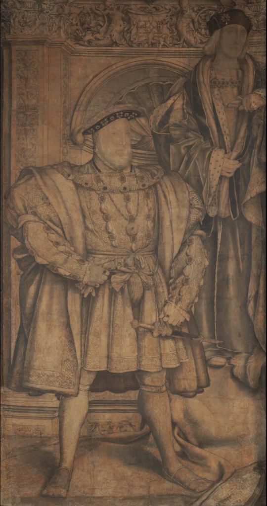 Royal Portraits: Holbein's watercolor and ink study of Henry VIII and his father in preparation for the Whitehall Mural.