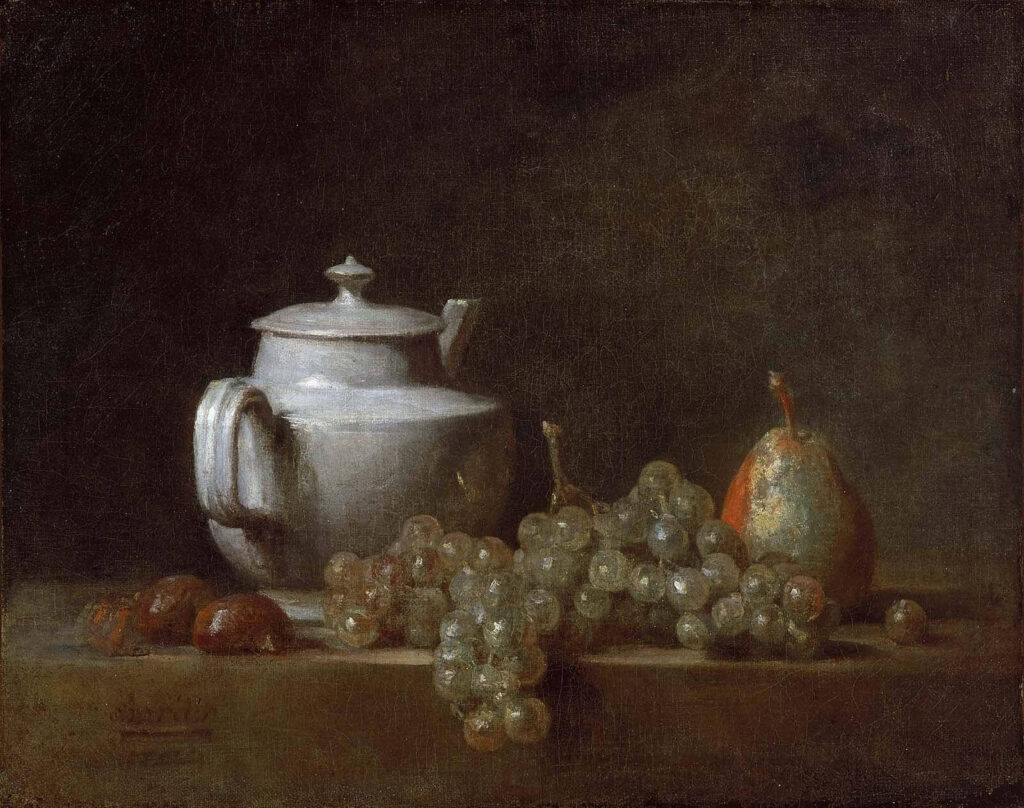 Autumn foods: Still Life with Teapot, Grapes, Chestnuts, and a Pear by Chardin