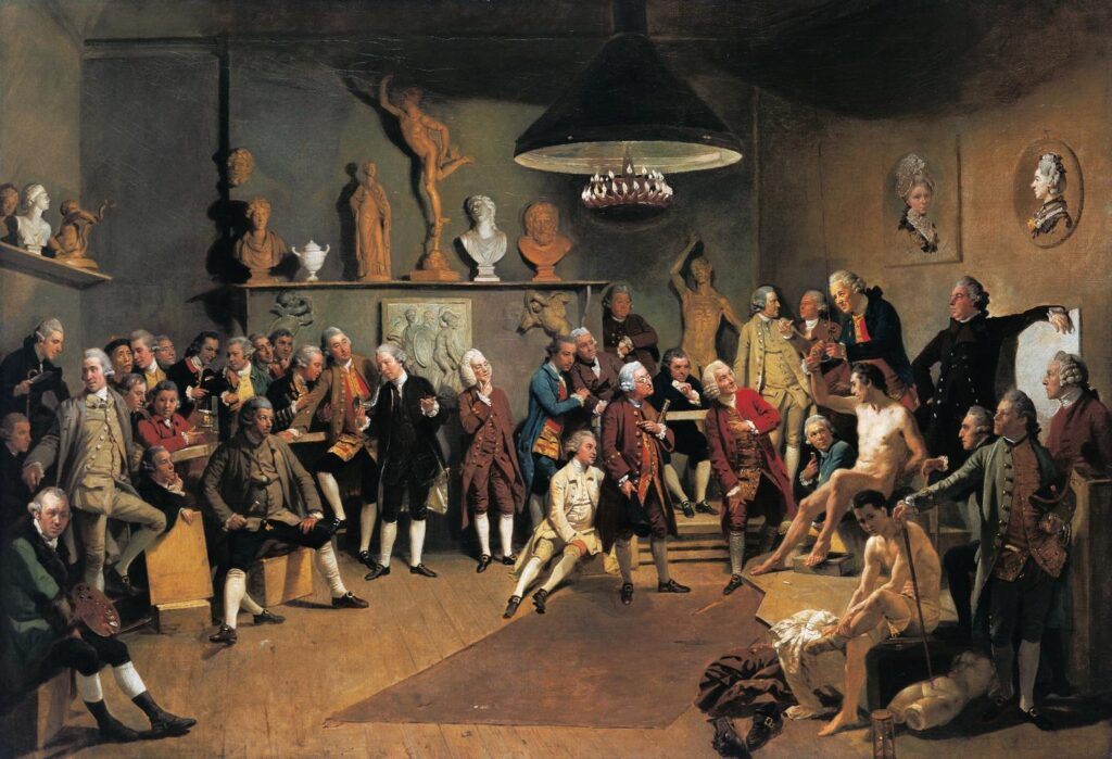 Self-portraits to know: Johan Zoffany, The Academicians of the Royal Academy, 1771-72, Royal Collection