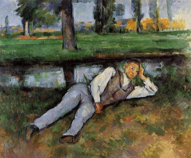In the painting Boy Resting (1890) Paul Cézanne portrays boy in the park who is laying on the ground.