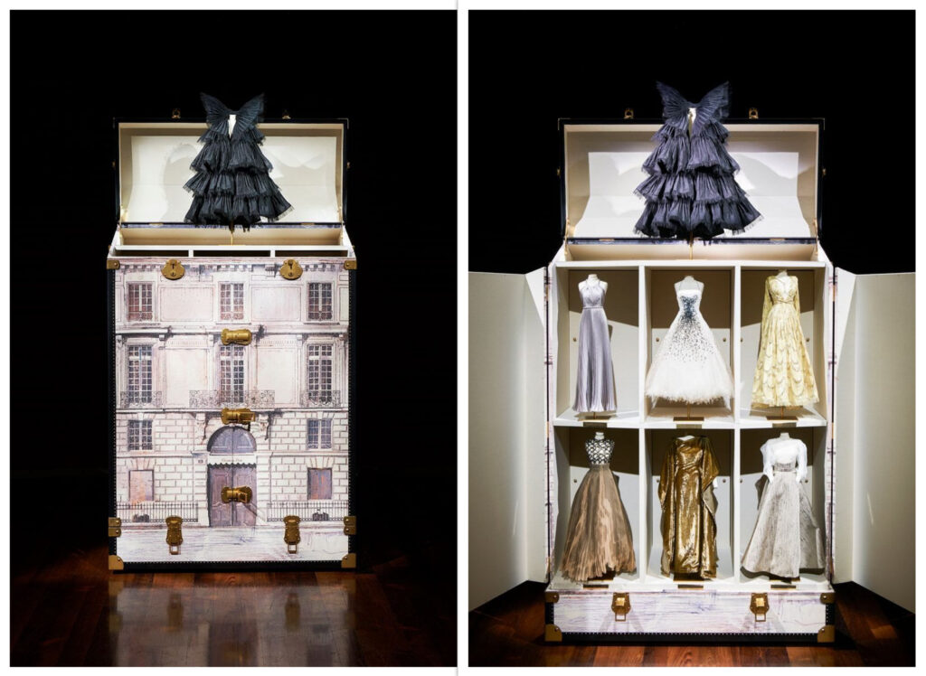 Dior AW 2020-21: Deconstructing Art References. The trunk of mini-mannequins with the exact looks from Dior AW 2020-2021 haute couture collection. Photo: © Adrien Dirand, Courtesy Dior.