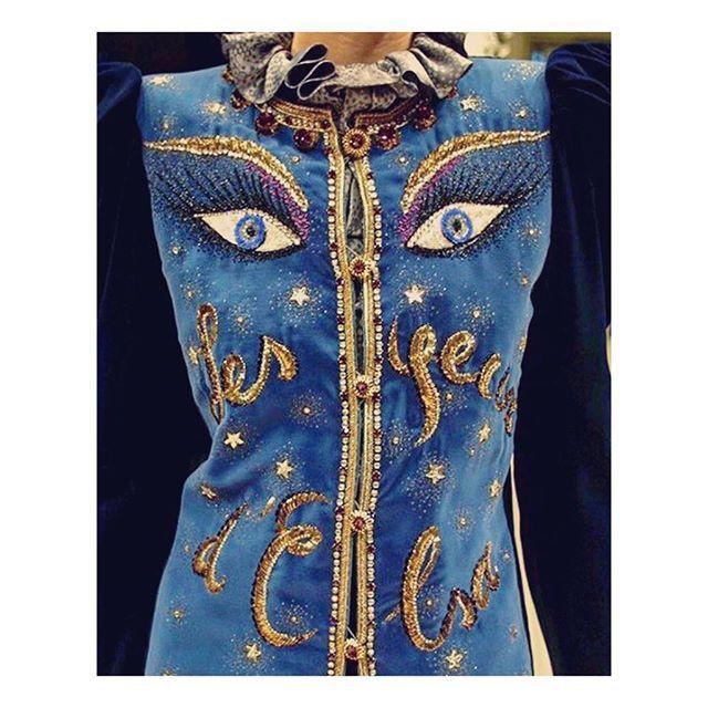 """Yves Saint Laurent, """"Les Yeux d'Elsa"""" blue velvet jacket, Fall/Winter Collection, 1980."""
