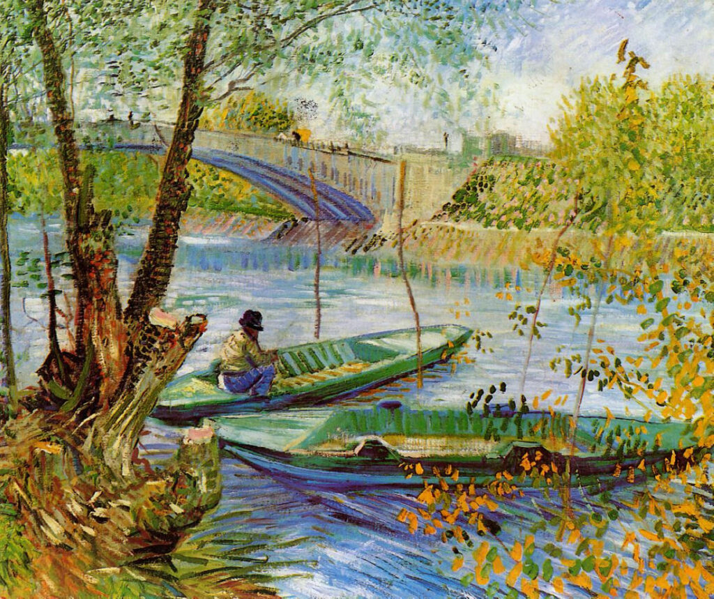 This is the painting Fishing in the Spring by Vincent van Gogh,1887. It depicts cityscape with a river, bridge and the man in the boat.
