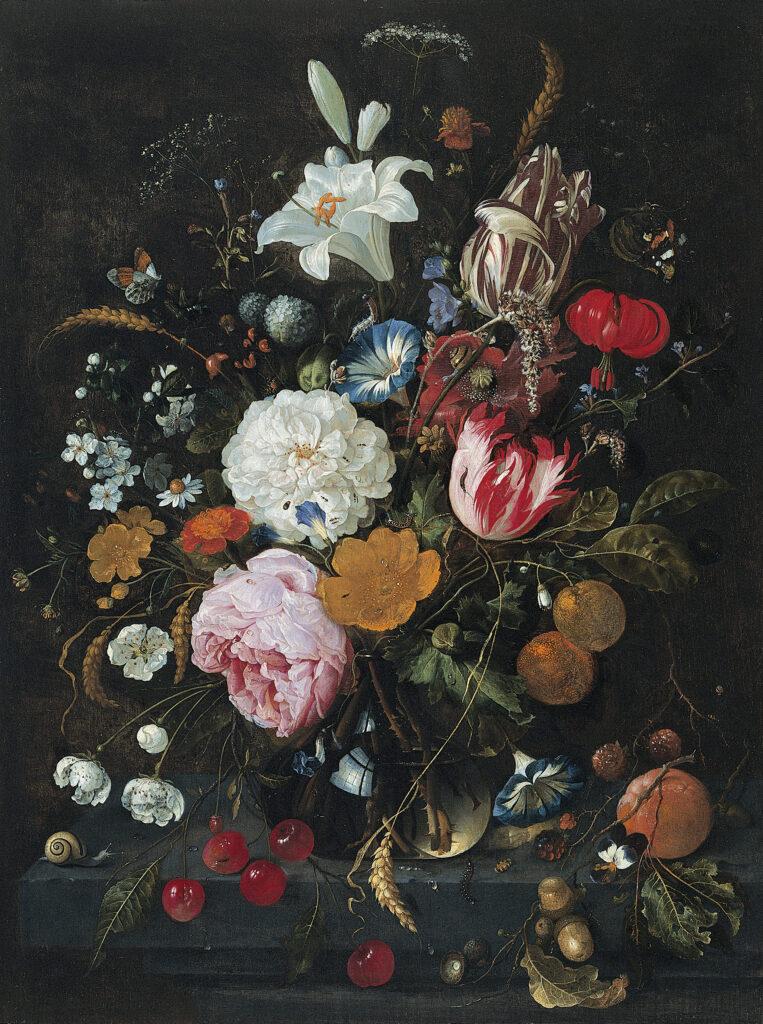 Jan Davidzoon de Heem, vase of flowers, 1670, Mauritshuis, The Hague, Netherlands.