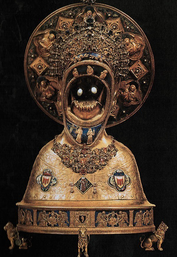 Top 10 Christian Weird Relics: Reliquary with the jawbone of St.Anthony of Padua, Basilica of St.Anthony of Padua, Padua, Italy.