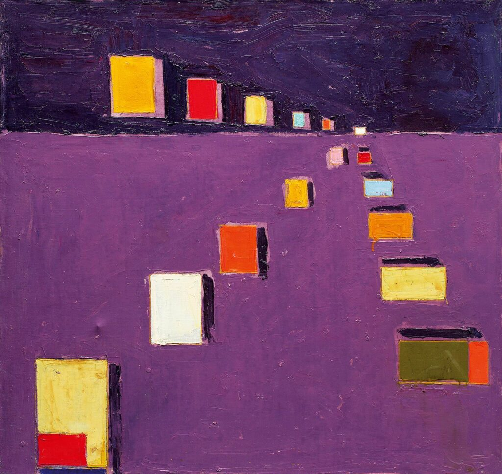 The untitled painting by Anatoliy Kryvolap depicts colorful parallelepipeds on the purple background; Anatoliy Kryvolap
