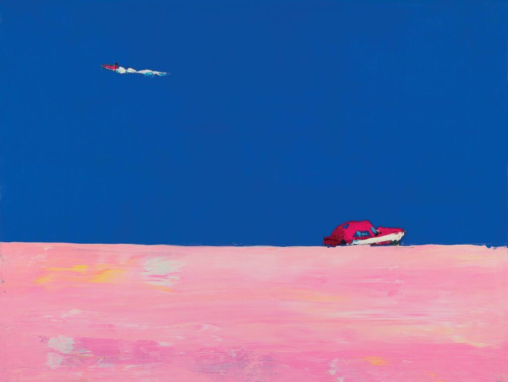 """The painting by Anatoliy Kryvolap named """"Shoreline. Kaniv"""". It depicts a pink shoreline and deep blue river; Anatoliy Kryvolap"""