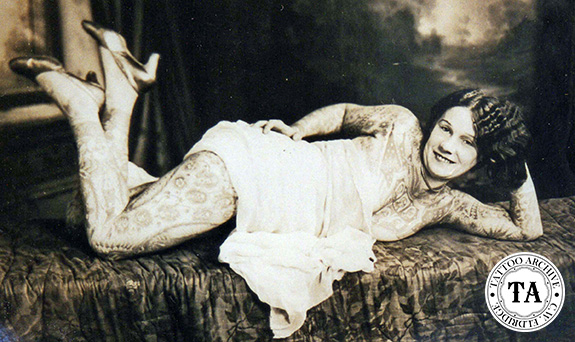 Tattoos history, art & culture:  Photograph of Lady Viola.